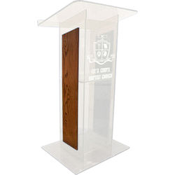 """AmpliVox Sound Systems Frosted H-Design Lectern with Walnut Panels (27"""" Width)"""