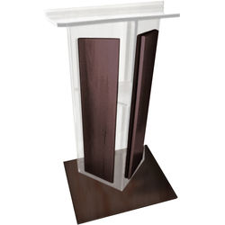 """AmpliVox Sound Systems Clear Acrylic V-Design Lectern with Walnut Wood Panels & Base (27"""" Width)"""