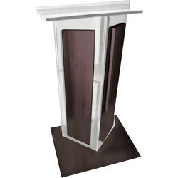 """AmpliVox Sound Systems Frosted Acrylic V-Design Lectern with Walnut Wood Panels & Base (27"""" Width)"""