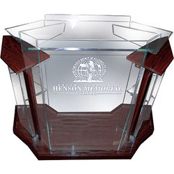 """AmpliVox Sound Systems Deluxe Frosted Acrylic Floor Lectern with Mahogany Wood Accent (42"""" Width)"""