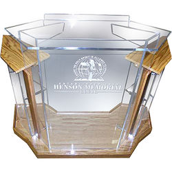 """AmpliVox Sound Systems Deluxe Frosted Acrylic Floor Lectern with Oak Wood Accent (42"""" Width)"""