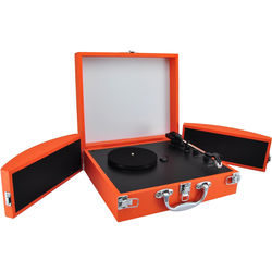 Pyle Pro PVTTBT8OR Portable Suitcase Turntable with Bluetooth and USB (Orange)