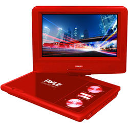 """Pyle Home 7"""" Portable DVD Player (Red)"""
