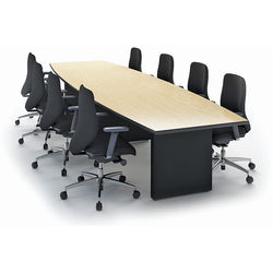 "Winsted Boat-Shaped Conference Room Table (48 x 168"", Black Base, Banister Oak Top)"