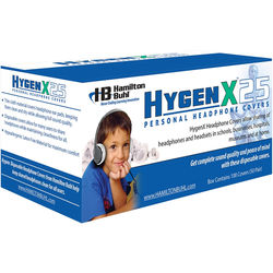 """HamiltonBuhl HygenX 2.5"""" Disposable Sanitary Ear Cushion Covers for On-Ear Headphones and Headsets (Black, 600 Pairs)"""