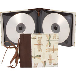 """Lineco Ribbon Bound 12 CD Holder Kit (Dragonflies Cover, 5.25 x 6"""")"""