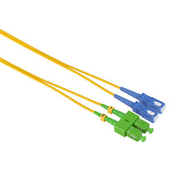 Camplex Duplex APC SC to UPC SC Singlemode 9u/125u Fiber Optic Patch Cable (3.3', Yellow)