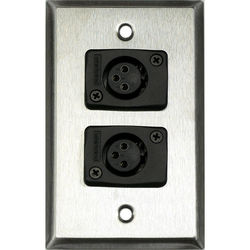 Whirlwind WP1/2FW 1-Gang Wall Plate with 2 Whirlwind WC3F Female XLR Terminals (Stainless Steel Finish)