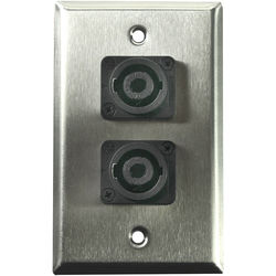Whirlwind WP1/2NL4 1-Gang Wall Plate with 2 Neutrik NL4 Speakon Terminals (Stainless Steel Finish)