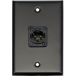 Whirlwind 1-Gang Wall Mounting Plate with 1 Neutrik Male XLR, Screw Terminals (Black Finish)