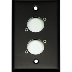 Whirlwind 1-Gang Wall Mounting Plate Punched for 2 Whirlwind/Switchcraft D3F (Black Finish)