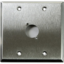 Whirlwind WP2/1H 2-Gang Wall Plate Punched for 1 Whirlwind/Switchcraft D3F Terminal (Stainless Steel Finish)