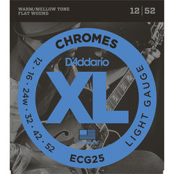 D'Addario ECG25 Light Chromes Flat Wound Electric Guitar Strings (6-String, 12 - 52)