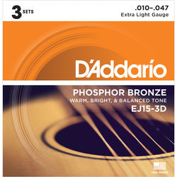 D'Addario EJ15-3D Extra Light Phosphor Bronze Multi-Pack Acoustic Guitar Strings (6-String Set, 10 - 47, 3-Pack)