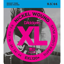 D'Addario EXL120+ Super Light Plus XL Nickel Wound Electric Guitar Strings (6-String Set, 9.5 - 44)