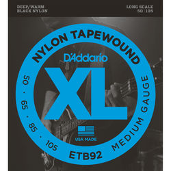 D'Addario ETB92 Medium XL Nylon Tapewound Electric Bass Strings (4-String, Long Scale, 50 - 105, Black)