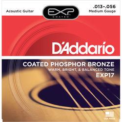 D'Addario EXP17 Medium Coated Phosphor Bronze Acoustic Guitar Strings (6-String Set, 13 - 56)