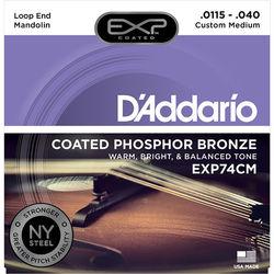 D'Addario EXP74CM Custom Medium EXP Coated Phosphor Bronze Mandolin Strings (8-String Set, Loop End, 11.5 - 40)