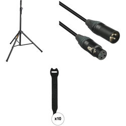 Auray Essential PA Speaker Accessory Kit with Stand, Cable, and Touch Fastener Straps (Single)