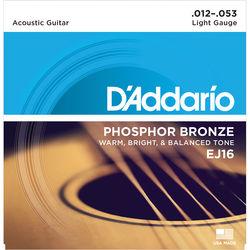 D'Addario EJ16 Light Phosphor Bronze Acoustic Guitar Strings (6-String Set, 12 - 53)