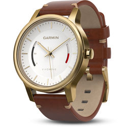 Garmin vivomove Premium Activity Tracking Watch (Gold-Tone Steel, Brown Leather Band)