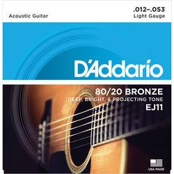 D'Addario EJ11 Light 80/20 Bronze Acoustic Guitar Strings (6-String Set, 12 - 53)