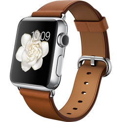 Apple Watch 38mm Smartwatch (2015, Stainless Steel Case, Saddle Brown Classic Buckle Band)