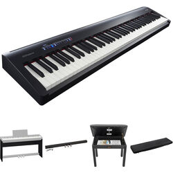 Roland FP-30 Digital Piano Kit with Stand, Pedal Unit, Bench, and Dust Cover (Black)