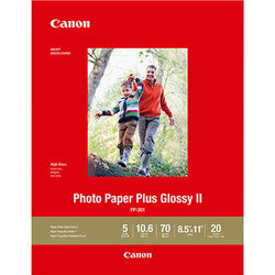 "Canon PP-301 Photo Paper Plus Glossy II (8.5 x 11"", 20 Sheets)"