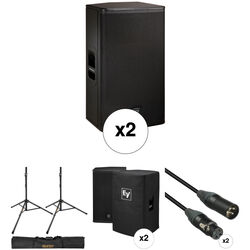 Electro-Voice ELX115P Kit with 2x Speakers, Stands, Covers, Cables, and Bag