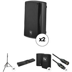 Electro-Voice ZXA1 Kit with 2x Speakers, Stands, Covers, Cables, and Bag