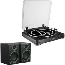 Audio-Technica Consumer AT-LP60USB Fully Automatic Belt-Drive Turntable (Black) and Powered Speakers Kit