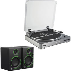 Audio-Technica AT-LP60USB Fully Automatic Belt-Drive Turntable (Silver) and Powered Speakers Kit