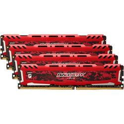 Ballistix 32GB Sport LT Series DDR4 2400 MHz UDIMM Memory Kit (4 x 8GB, Red)