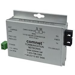COMNET Multimode 10/100 Mbps Ethernet 1310/1550nm Mini AC/DC Power Media Converter (ST Connector, Conformally Coated Circuit Boards, 2 mi)