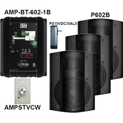 OWI Inc. AMP-BT-602-4BVC Kit of Four Surface-Mountable Bluetooth Speakers & Volume Control Panel (Black)