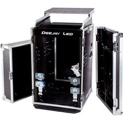 "DeeJay LED 11 RU Slant Mixer Rack / 16 RU Vertical Rack System Combo Case with Caster Board, Table, and 17"" Laptop Shelf"