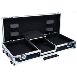 DeeJay LED Fly Drive Battle Case with Laptop Shelf for Two Turntables & One RN62 Mixer