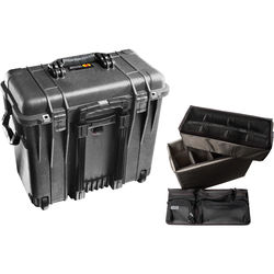 Pelican 1440 Wheeled Top Loader Case with Utility Padded Divider Set and Lid Organizer (Black)