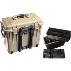 Pelican 1440 Wheeled Top Loader Case with Utility Padded Divider Set and Lid Organizer (Desert Tan)