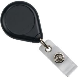 BRADY PEOPLE ID Premium Badge Reel with Strap and Slide Clip (Black, 25-Pack)