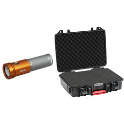 Bigblue AL2600XWP Molly 3 Photo/Video LED Dive Light with Protective Case (Orange and Silver)