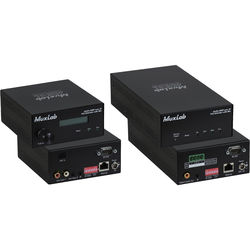 MuxLab Audio over IP Extender Kit with 2-Ch 50W Amp & Mic Input (US Plug)
