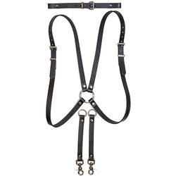 Funk Plus Skinny Ring Back Dual-Camera Cowhide Leather Harness with Chest Adjuster (Black)