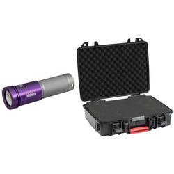 Bigblue AL1800XWP Black Molly 2 Tri-Color LED Dive Light with Protective Case (Purple/Silver)