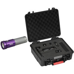 Bigblue AL1800XWP Black Molly 2 Tri-Color LED Dive Light with Protective Case and Single-Arm Mounting Tray (Purple/Silver)