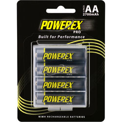 Powerex Pro Rechargeable AA NiMH Batteries (1.2V, 2700mAh, 4-Pack)