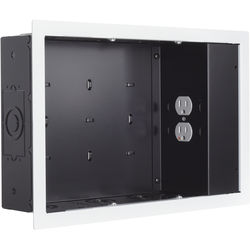 Chief In-Wall Storage Box with 2-Receptacle Outlet, EMI Filter & Surge Protection (Black with White Flange)