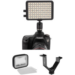 """Luxli Viola 5"""" Multi-Color On-Camera LED Light with Diffuser Kit and 5"""" Triple Shoe Bracket"""