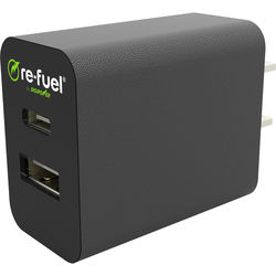 re-fuel Re-Fuel Dual USB Type-A & Type-C Wall Charger